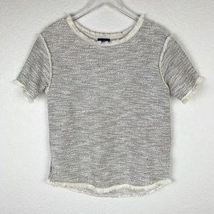 The Limited Soft Tweed Fringed-Trim Sweater Tee XS